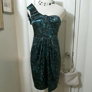 DRESSBARN  black teal cocktail dress shiney
